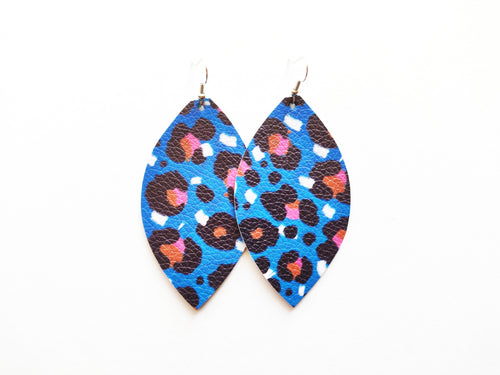 True Blue Leopard Vegan Leather Earrings