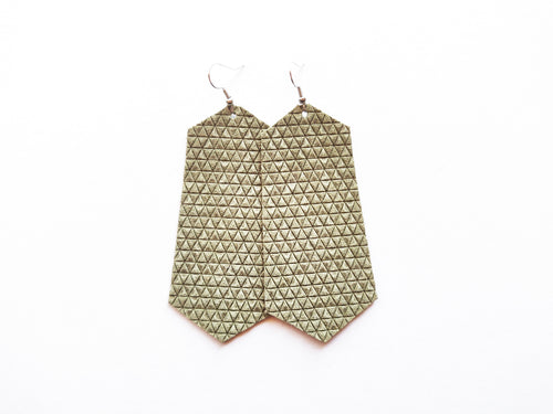 Olive Triangle Jewel Genuine Leather Earring