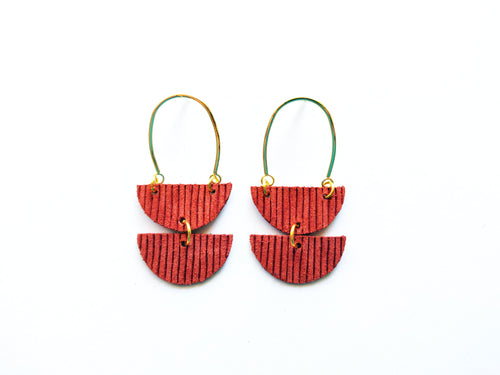 Gold Arch Leather Earring