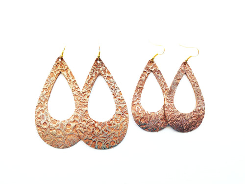 Antiqued Gold Cutout Teardrop Genuine Leather Earring