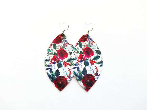 Holiday Floral Leaf Vegan Leather Earrings