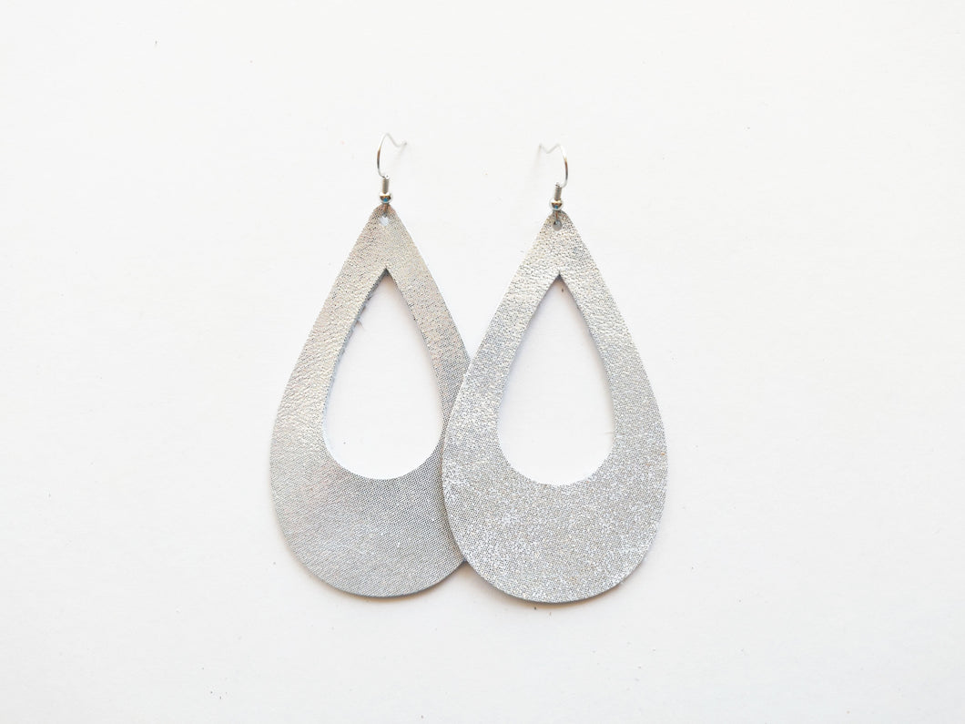 Cutout Teardrop Genuine Leather Earring