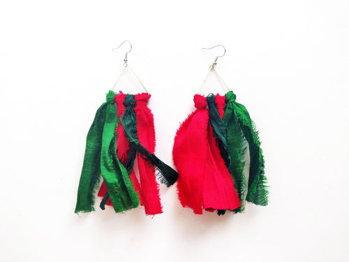 OOAK Christmas Tassel Vintage Sari Earrings