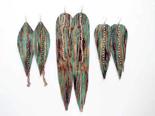 OOAK Rose Gold Driftwood Feather Genuine Leather Earrings