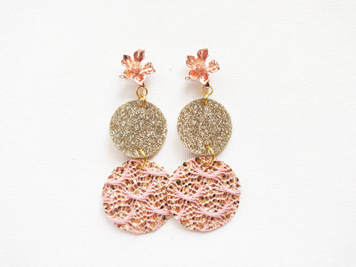 Rose Gold Double Round Faux Leather Earring