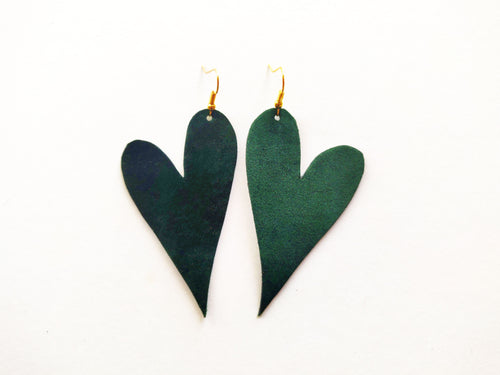Emerald Velvet Heart Vegan Leather Earring