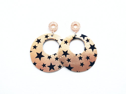 Rose Gold Halo Stud Vegan Leather Earring