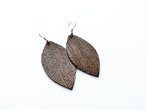 Rose Gold Leaf Genuine Leather Earrings