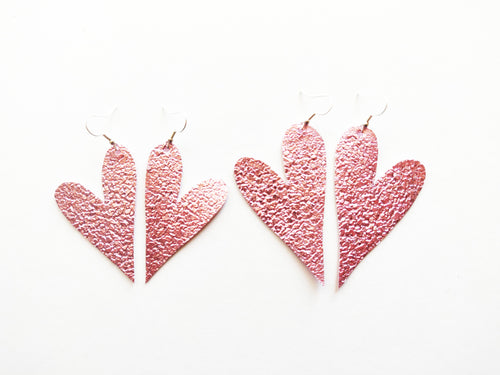 Metallic Pink Druzy Heart Vegan Leather Earring
