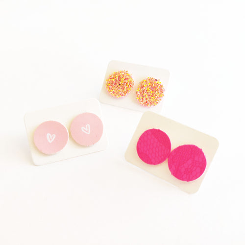 3 Pack Round Stud Set Vegan Leather Earring