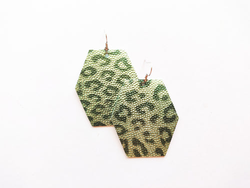 Spearmint Green Leopard Hexagon Vegan Leather Earring