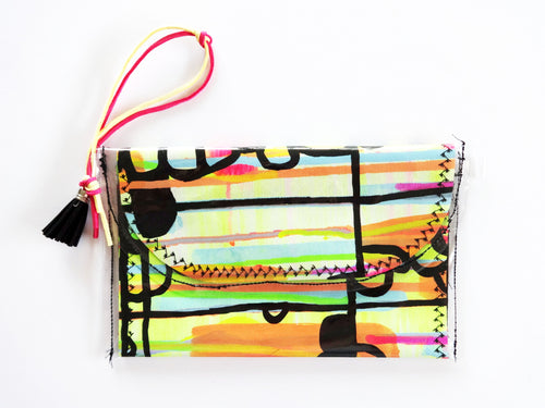 Hand Painted Wristlet Clutch Bag