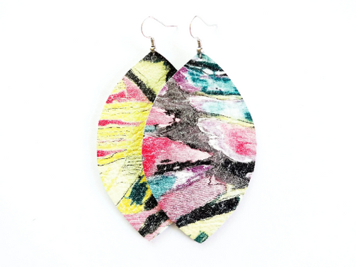 Abstract Painting Leaf Genuine Leather Earring