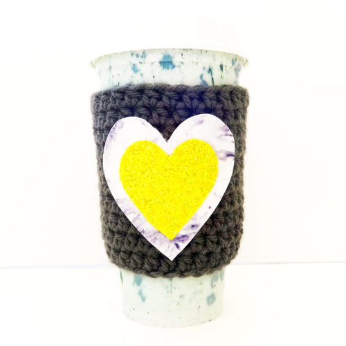 Cup Cozy Crocheted Yarn & Vegan Leather Heart