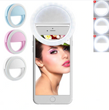 Lampara Flash Selfie Aro LED para celular con Clip Recargable