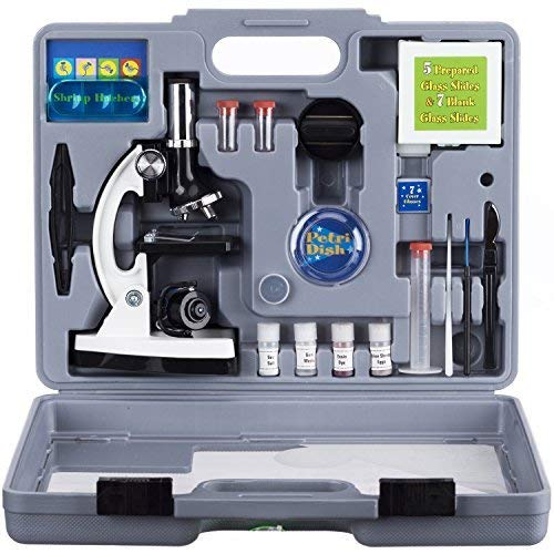 AmScope 120X-1200X 52-pcs Kids Beginner Microscope STEM Kit with Metal Body Microscope, Plastic Slides, LED Light and Carrying Box (M30-ABS-KT2-W) - beyondtrendi