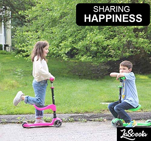 Lascoota 2-in-1 Kick Scooter with Removable Seat Great for Kids & Toddlers Girls or Boys – Adjustable Height w/Extra-Wide Deck PU Flashing Wheels for Children from 2 to 14 Year-Old - beyondtrendi
