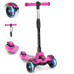 6KU Kids Kick Scooter with Adjustable Height, Lean to Steer, Flashing Wheels for Children 3-8 Years Old