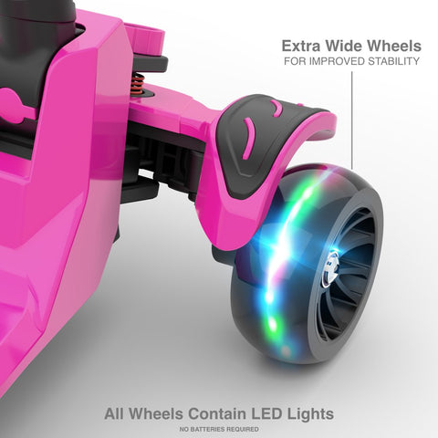 6KU Kids Kick Scooter with Adjustable Height, Lean to Steer, Flashing Wheels for Children 3-8 Years Old Pink - beyondtrendi