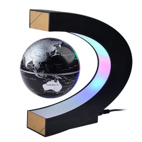 Petforu Magnetic Levitation, High Rotation C Shape Magnetic Suspension Maglev Levitation Globe with LED Lights for Learning Education Teaching Demo Home Office Desk Decoration(US Plug) - Black - beyondtrendi