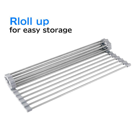 KIBEE RACK-2T-18 Dish Drying Rack Stainless Steel Roll Up Over The Sink Drainer Gadget Tool for Many Kitchen Task(Gray,Large) - beyondtrendi