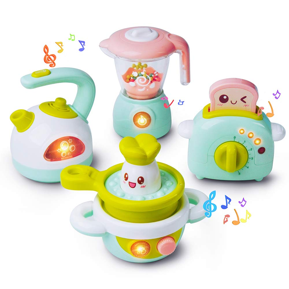 Gizmovine Play Kitchen Accessories, 4PCs Mini Simulation Musical Kitchen  Toys for Kids Cooking Set Pretend Play Home Kitchen Appliances for Girls  Kids ...
