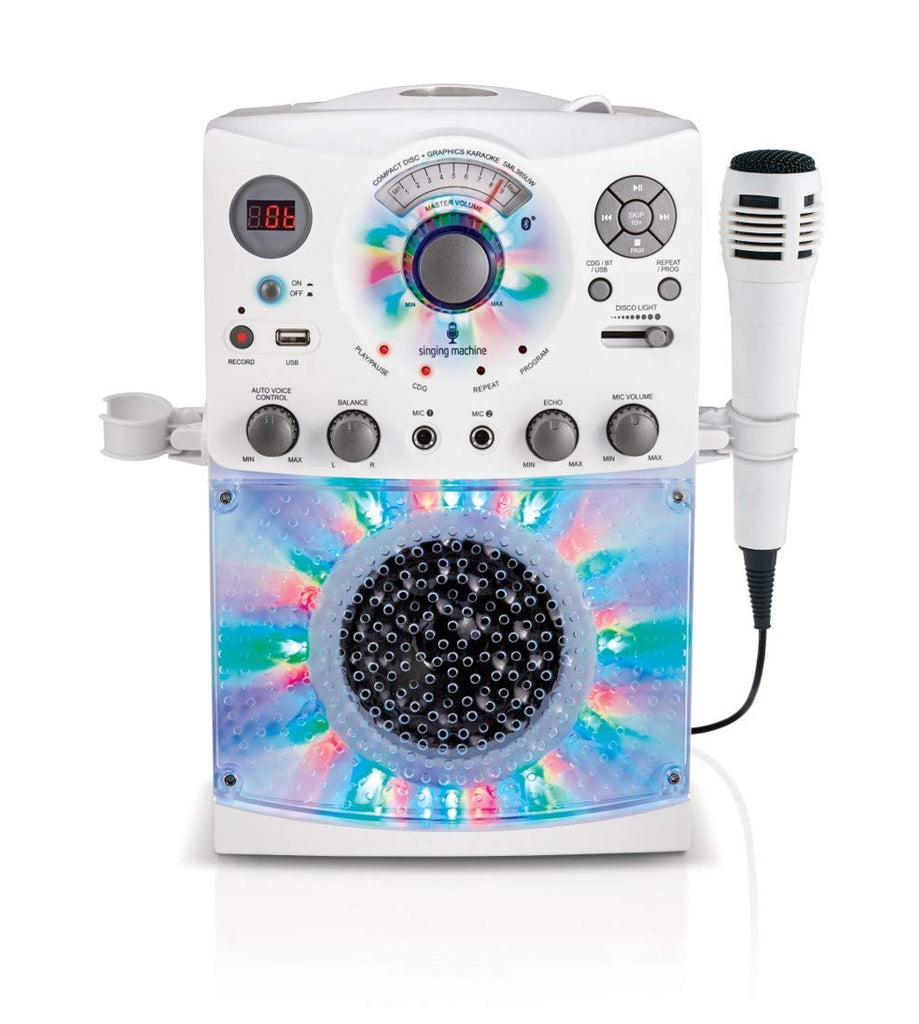 Singing Machine SML385UW Bluetooth Karaoke System with LED Disco Lights, CD+G, USB, and Microphone, White - beyondtrendi