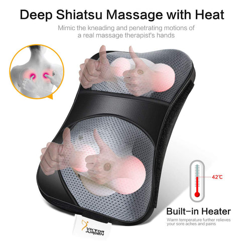 VIKTOR JURGEN Neck Massage Pillow Shiatsu Deep Kneading Shoulder Back and Foot Massager with Heat-Relaxation Gifts for Women/Men/Dad/Mom-FDA Approved - beyondtrendi