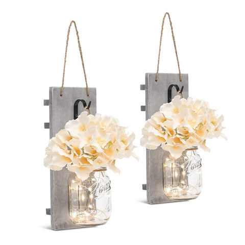 GBtroo Rustic Wall Sconces - Mason Jars Sconce, Rustic Home Decor,Wrought Iron Hooks, Silk Hydrangea and LED Strip Lights Design 6 Hour Timer Home Decoration (Set of 2) - beyondtrendi