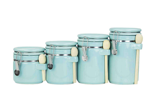 Home Basics 4PC Ceramic Canister Set W/Spoon (Turquoise) - beyondtrendi