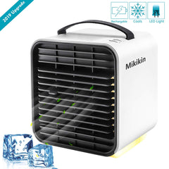 Mikikin Portable Air Conditioner Cooler Fan, Personal Space Air Cooler, Humidifier, Evaporative Cooler, USB Rechargeable Mini Cooling Desktop Fan with LED Light, 3 Speeds - beyondtrendi