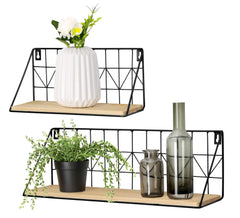 Mkono Wall Mounted Floating Shelves Set of 2 Rustic Metal Wire Storage Shelves Display Racks Home Decor - beyondtrendi