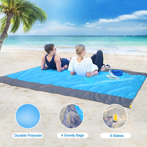 AOMAIS Sandfree Beach Blanket Large 108x 85.19''【Comfortable for 12+Adults】Outdoor Travel Accessories & Portable Family Camping Mat Waterproof Lightweight Soft &Durab with 6 Stakes & 4 Corner Pockets - beyondtrendi