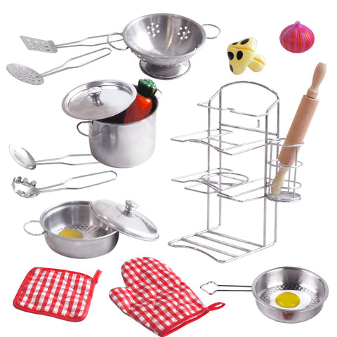 ToyerBee Pretend Play Toys, 17PCS Kitchen Play Accessories Set -Play Food & Stainless Steel Toys with Pots, Pans, Wooden Spoons, Pot Holders & Storage- Pretend Toys for Kids, Toddlers, Girls & Boys - beyondtrendi