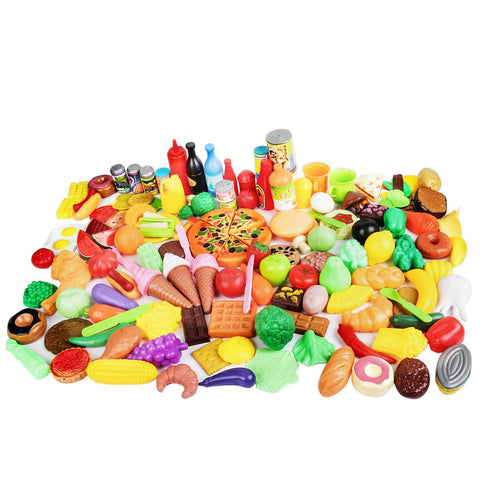 CatchStar Play Food Durable Pretend Food Plastic Vegetable Toy Set for Kids Toddlers Play Kitchen Playset Accessories Gift Toy 155 Piece - beyondtrendi