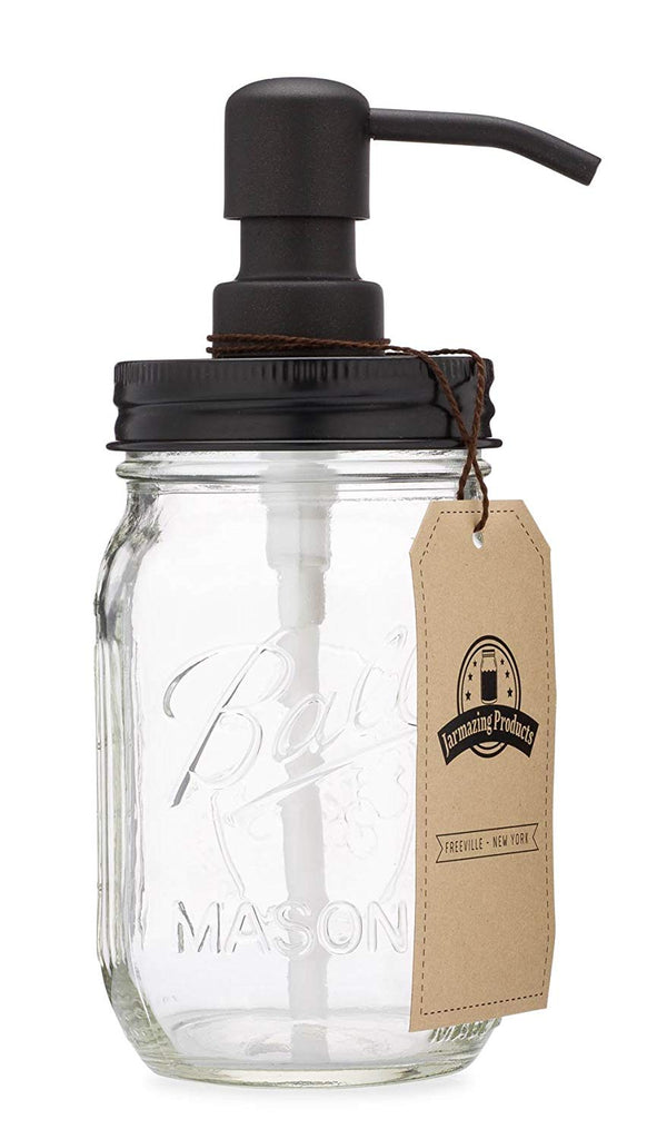 Jarmazing Products Mason Jar Soap Dispenser - Black - with 16 Ounce Ball Mason Jar - Made from Rust Proof Stainless Steel - beyondtrendi