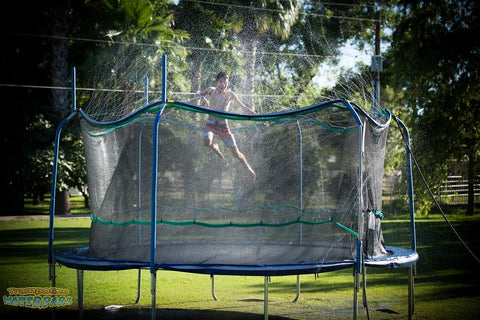 Trampoline Waterpark - Kids Fun Summer Outdoor Water Game Sprinkler - Toys for Boys Girls and Adults - Accessories Included - Toy Attaches on Safety Net Enclosure - Made in The USA - beyondtrendi