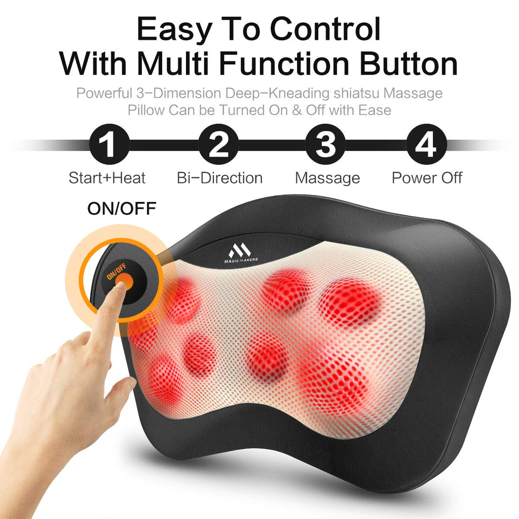 Shiatsu Neck and Back Massager - 8 Heated Rollers Kneading Massage Pillow for Shoulders, Lower Back, Calf, Legs, Foot - Relaxation Gifts for Men, Women - Shoulder and Neck Massager Present for Wife - beyondtrendi