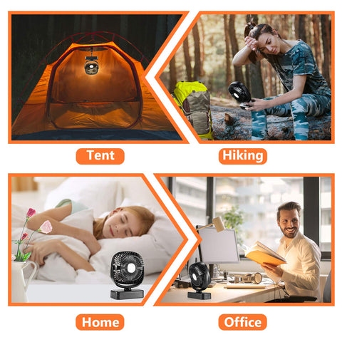 COMLIFE Portable LED Camping Lantern with Tent Ceiling Fan -4400 mAh Battery Powered Mini Desk Fan with USB Charging Input-Survival Kit for Hurricane, Emergency, Storm, Outages (1 Pack) - beyondtrendi