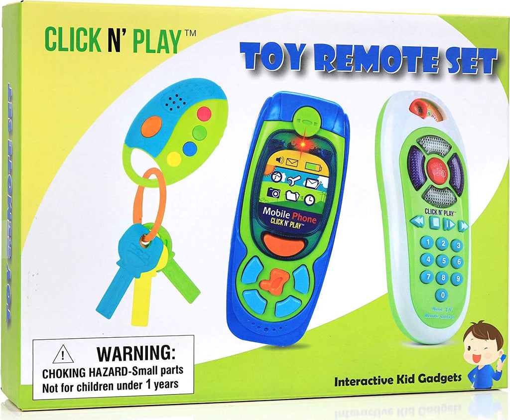 Click N' Play Pretend Play Cell Phone TV Remote & Car Key Accessory Playset for Kids with Lights Music & Sounds (Set of 3) - beyondtrendi