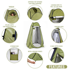 Pop Up Privacy Tent – Instant Portable Outdoor Shower Tent, Camp Toilet & Changing Room, Rain Shelter w/ Window – for Camping & Beach – Easy Set Up, Foldable with Carry Bag – Lightweight & Sturdy