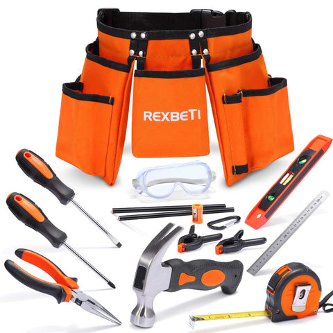 "REXBETI 15pcs Young Builder's Tool Set with Real Hand Tools, Reinforced Kids Tool Belt, Waist 20""-32"", Perfect Kids Learning Tool Set for Home DIY and Woodworking - beyondtrendi"