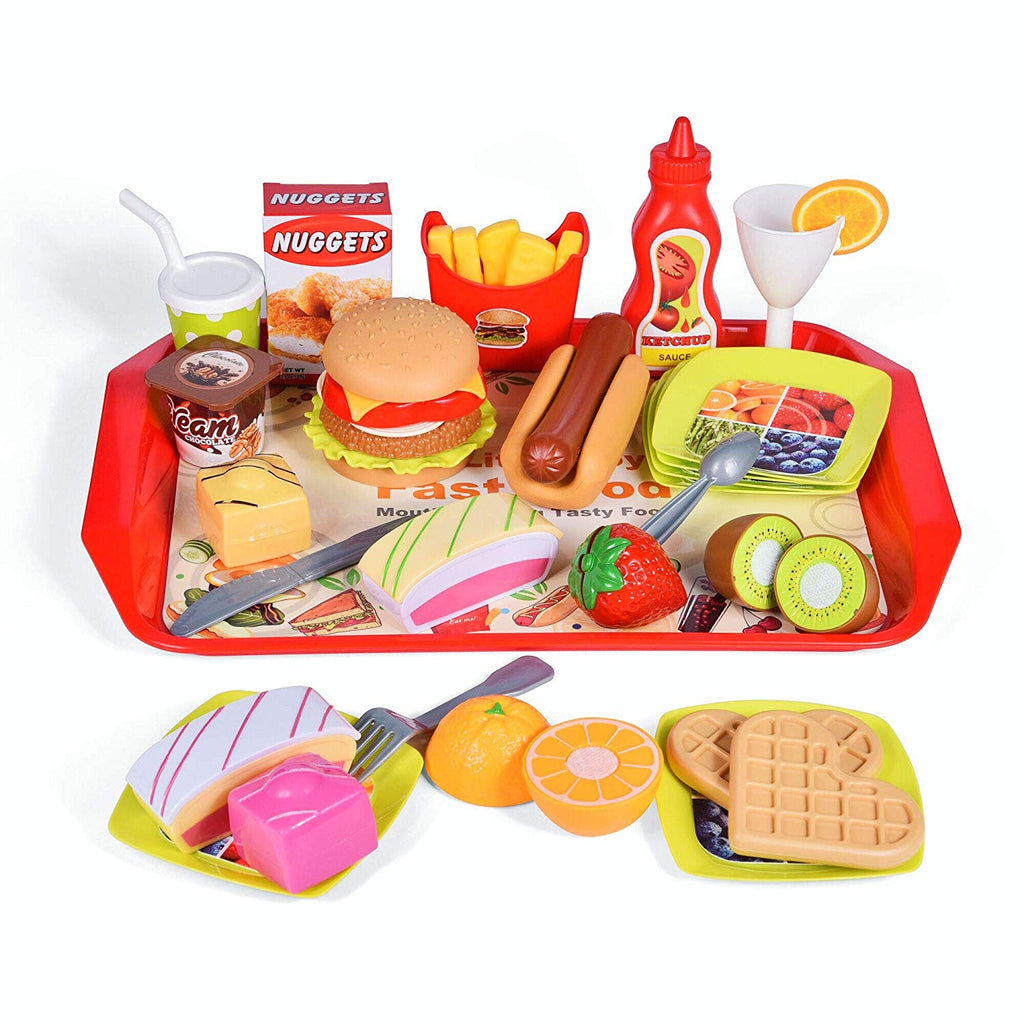 40 PCs Play Food Toys, Pretend Play Kitchen Set Cutting Fruits Play Kitchen Sets Toddlers Pretend Food Playset Children Toy Food Set - beyondtrendi
