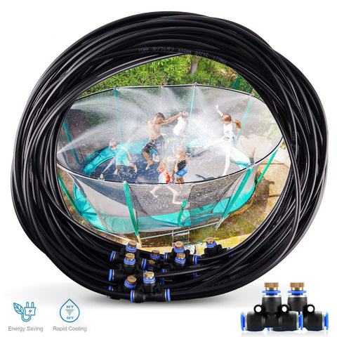 Trampoline Water Play 50 FT 12 Nozzles Misting Outdoor Cooling System Kit Waterpark Summer Game Toys Accessories for Kids in Outdoor Swimming Pool Patio Garden Lawn Greenhouse Irrigation Sprinkle - beyondtrendi