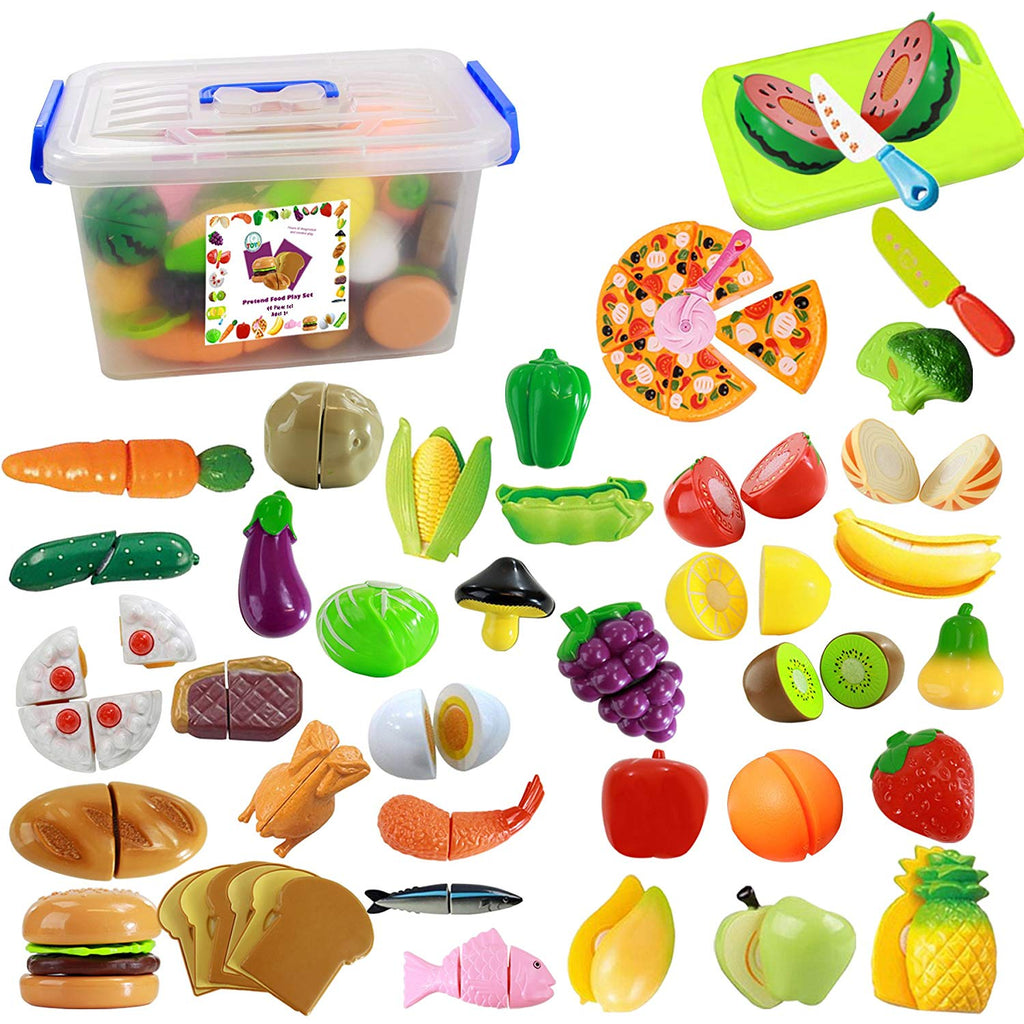 IQ Toys 40 Piece Complete Pretend Cutting Food Playset for Kids, Variety of 36 Food and 4 Cutting Accessories, Includes A Storage Container - beyondtrendi