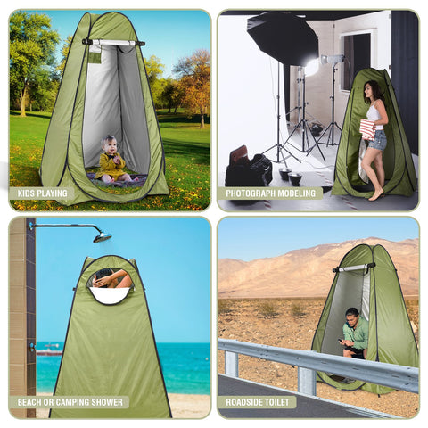 Pop Up Privacy Tent – Instant Portable Outdoor Shower Tent, Camp Toilet & Changing Room, Rain Shelter w/ Window – for Camping & Beach – Easy Set Up, Foldable with Carry Bag – Lightweight & Sturdy - beyondtrendi