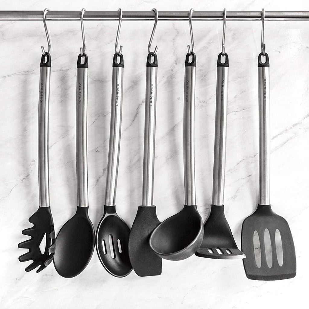11 Silicone Cooking Utensils Kitchen Utensil set - Stainless Steel Silicone  Kitchen Utensils Set - Silicone Utensil Set Spatula Set - Silicone ...