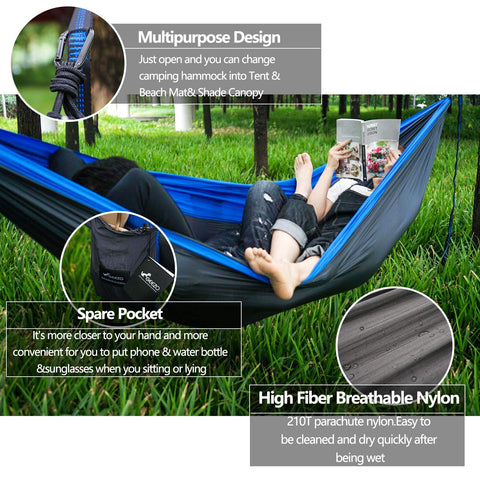 Geezo Double Camping Hammock, Lightweight Portable Parachute (2 Tree Straps 16 LOOPS/10 FT Included) 500lbs Capacity Hammock for Backpacking, Camping, Travel, Beach, Garden - beyondtrendi