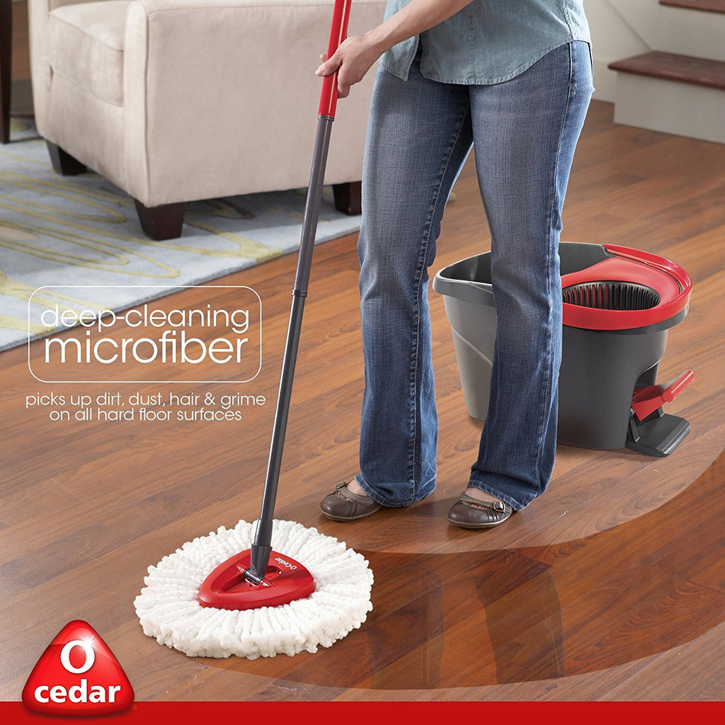 O-Cedar EasyWring Microfiber Spin Mop, Bucket Floor Cleaning System - beyondtrendi