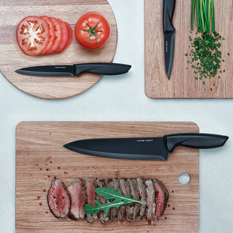 Stainless Steel Knife Set with Block - 13 Kitchen Knives Set Chef Knife Set with Knife Sharpener, 6 Steak Knives, Bonus Peeler Scissors Cheese Pizza Knife & Acrylic Stand - Best Cutlery Set Gift - beyondtrendi
